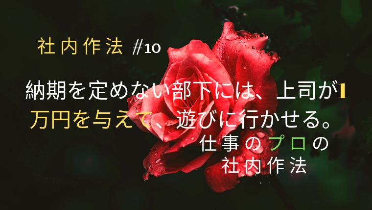 納期を定めない部下には、上司が1万円を与えて、遊びに行かせる。